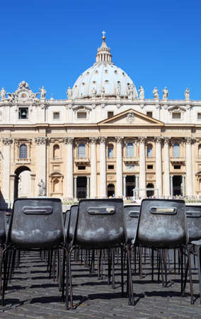 Vatican Museum in Basilica of St. Peter and  rows of gray chairs in Rome, Italy Stock Photo - 17678616