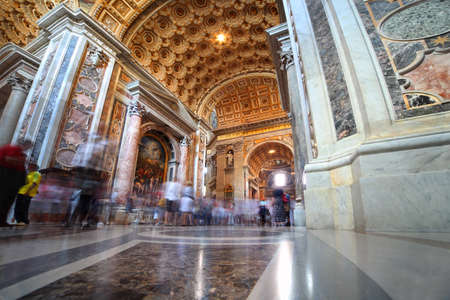 vatican city: Indoor view of Basilica di San Pietro in Rome, Italy, beautiful gold finishing