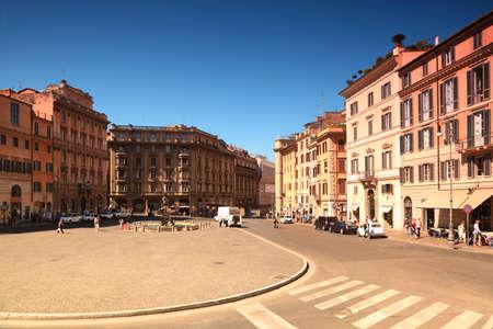 Triton Fountain on Piazza Barberini at summer day in Rome, Italy