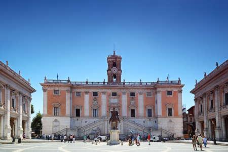 del: tourists near to Palazzo Senatorio at summer day in Rome, Italy