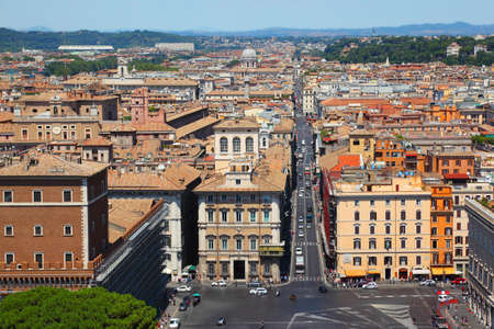 altar of fatherland: panorama of Rome from Altar of Fatherland at summer day in Rome, Italy.