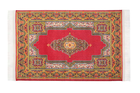 and lies: Rectangular red carpet horizontally lies on white background