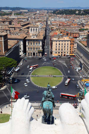 panorama of Rome from Altar of Fatherland in Rome, Italy. equestrian monument to Victor Emmanue II Stock Photo - 17682015