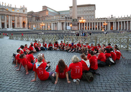 catholic mass: ROME - AUGUST 8: People are on international pilgrimage on August 8, 2010 in Vatican City, Rome, Italy. Vatican City is considered governmental and spiritual capital of Catholic Church.