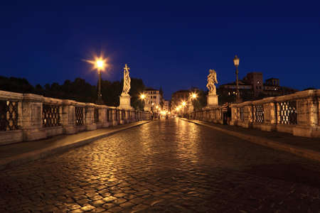 angelo: Sant Angelo Bridge at night, beautiful old sculptures and lanterns