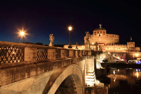 angelo: Sant Angelo Bridge and Sant Angelo Castel at night, beautiful old sculptures and lanterns
