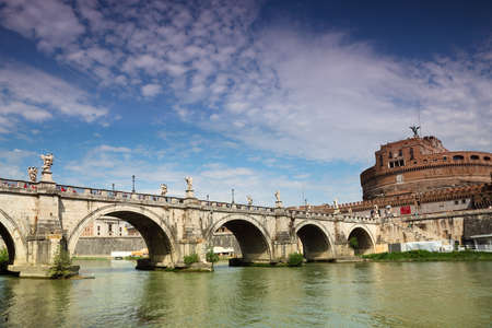 Sant Angelo Castel and Sant Angelo Bridge at summer in Rome, Italy photo