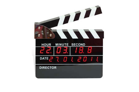 film editing: Large electronic clapperboard with timer of time and calendar Stock Photo