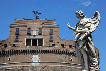 Sant' Angelo Castel and beautiful old sculpture at day in Rome, Italy. Stock Photo - 17678753
