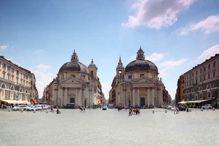 piazza: Piazza del Popolo, Santa Maria dei Miracoli circular, Santa Maria in Montesanto  in Rome, Italy.