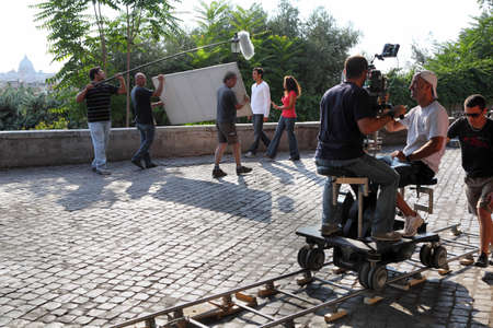ROME - AUGUST 4: Shooting film near Villa Medici on August 4, 2010 in Rome, Italy. First Italian films were shot in 1885 에디토리얼