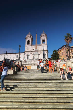 ROME - AUGUST 4: People on the Piazza di Spagna on August 4, 2010 in Vatican City, Rome, Italy.