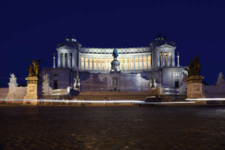 Equestrian monument to Victor Emmanuel II near Vittoriano at night in Rome, Italy Editorial