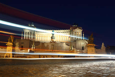 night viev: Equestrian monument to Victor Emmanuel II near Vittoriano at night in Rome, Italy Editorial