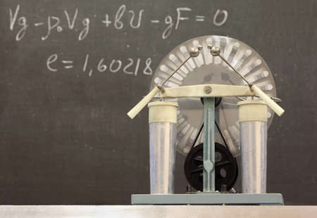 generator: Wimshurst influence Machin, formula written on blackboard in background
