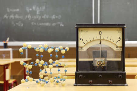 galvanometer: Galvanometer with not real number 555 and model of atomic structure on desk in empty physics school class; formula on blackboard