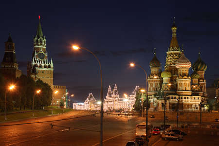 spassky: Spassky Tower and St Basils Cathedral in Red Square at summer night in Moscow, Russia