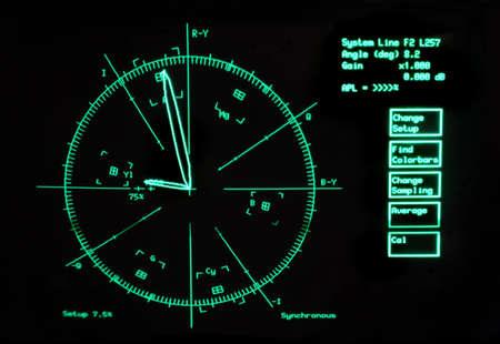 oscilloscope: schermo di oscilloscopio per la riparazione vecchio video, sfondo nero con brillante rotondo verde, simboli e iscrizioni Archivio Fotografico