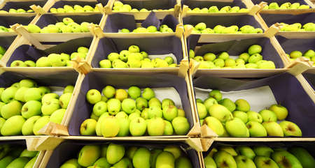 Beautiful juicy green apples in boxes in shop, rows of boxes of apples Stock Photo - 17717568