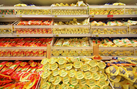 MOSCOW - FEBRUARY 6: Shelves with mayonnaise in store, on February 6, 2011 in Moscow, Russia. Cost of minimum food basket per month in Russia on average by end of August 2011 decreased by 2,4%. Stock Photo - 17678789