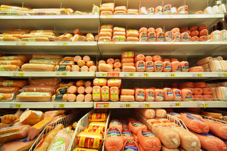 MOSCOW - FEBRUARY 6: Sausage in store, on February 6, 2011 in Moscow, Russia. In Russia new regulations On safety of food additives is being prepared. It arranges to use manufacturers of food additives that are commonly used in sausages. 에디토리얼