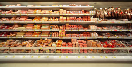 MOSCOW - FEBRUARY 6: Sausage in shop, on February 6, 2011 in Moscow, Russia. In Russia new regulations On safety of food additives is being prepared. It arranges to use manufacturers of food additives that are commonly used in sausages. Stock Photo - 17678723