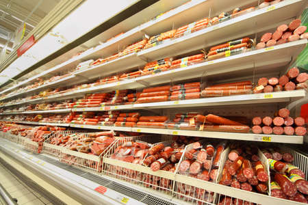 MOSCOW - FEBRUARY 6: Sausage in shop, on February 6, 2011 in Moscow, Russia. In Russia new regulations On safety of food additives is being prepared. It arranges to use manufacturers of food additives that are commonly used in sausages.