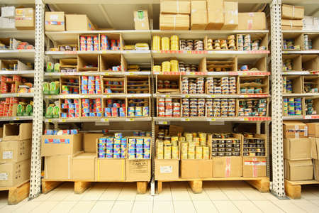 MOSCOW - FEBRUARY 6: Shelves with canned fish in shop, on February 6, 2011 in Moscow, Russia. Russian President Dmitry Medvedev demanded that Federal Agency of Fishery not charge money for fishing.