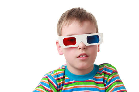 little boy in striped shirt and anaglyph glasses, red and blue photo