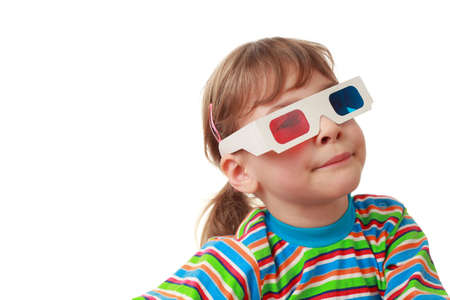 airs: little beautiful girl in striped shirt and anaglyph glasses puts on airs, artificial smile