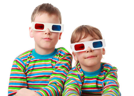 little brother and sister in striped shirt and anaglyph glasses, focus on girl Stock Photo - 17721134