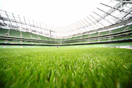 夏の日、大きいサッカー場、フォーカスの浅い深さで大規模なスタジアムでグリーン カット草