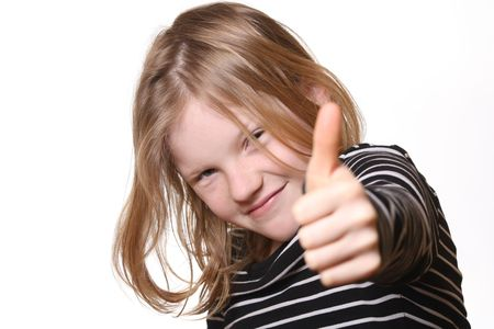 Pretty young girl with thumbs up Stock Photo - 6744922