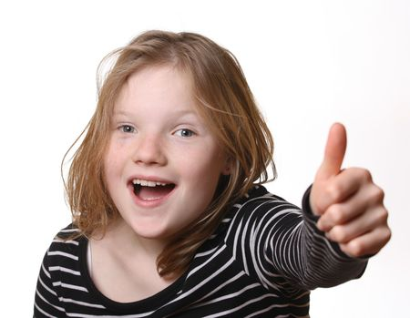 Pretty young girl with thumbs up Stock Photo - 6744935