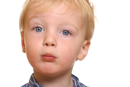 Shy little boy with white background Stock Photo - 6744936