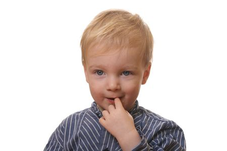 Young blond boy with white background Stock Photo - 6788997