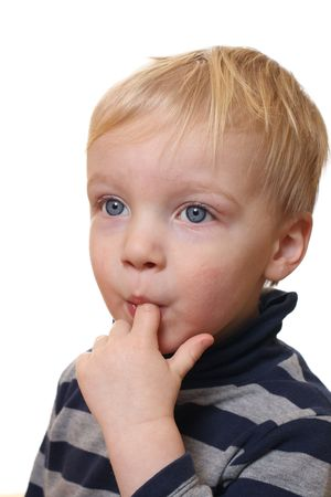 Young blond boy with white background Stock Photo - 6788996