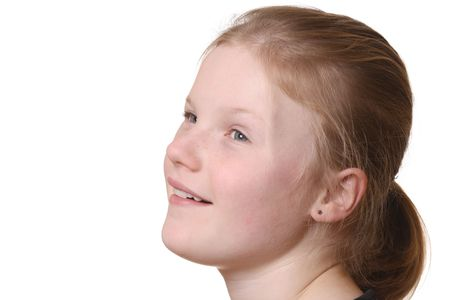 Happy young girl with white background Stock Photo - 6789109