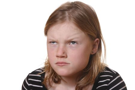 Angry young girl with white background Stock Photo - 6789108