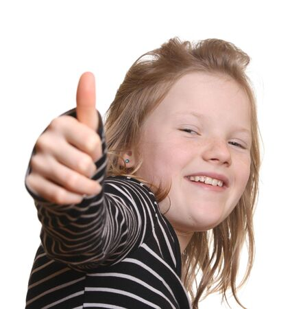 Pretty young girl with thumbs up Stock Photo - 6789065