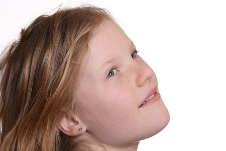 Pretty young girl with white background Stock Photo - 6788987