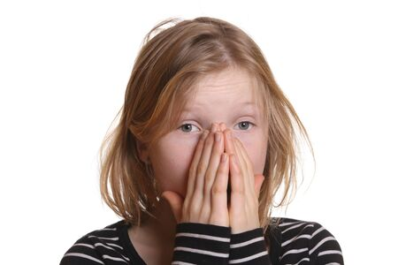 Frightened girl with white background Stock Photo - 6789064