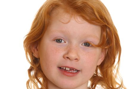 Adorable red-haired girl with white background Stock Photo - 6788990