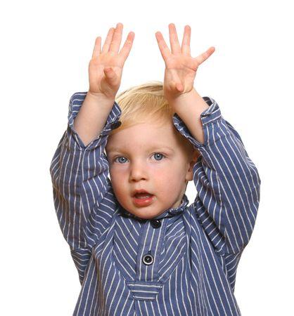 interrogative: Shy little boy with white background Stock Photo
