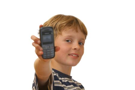Boy showing his new cell phone photo