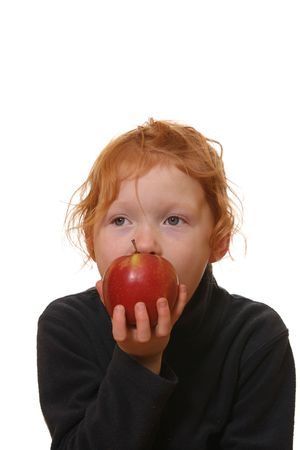 Happy and healthy girl eats an apple Stock Photo - 6789072