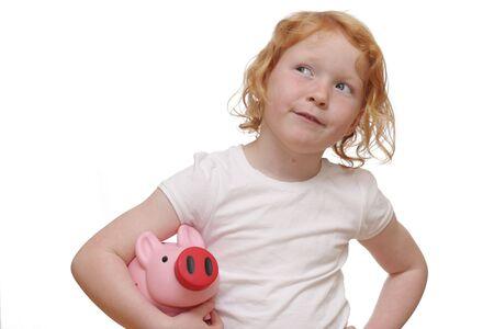 Girl with piggybank Stock Photo - 6788992