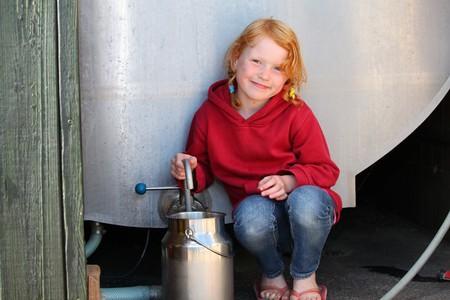 Girl fills milkcan from milk tank photo