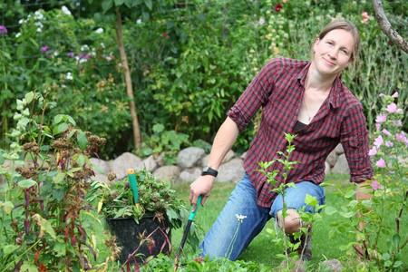Woman works in garden photo