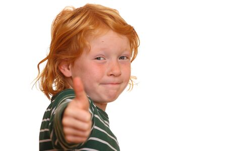 thumbsup: Red-haired girl with thumbs-up